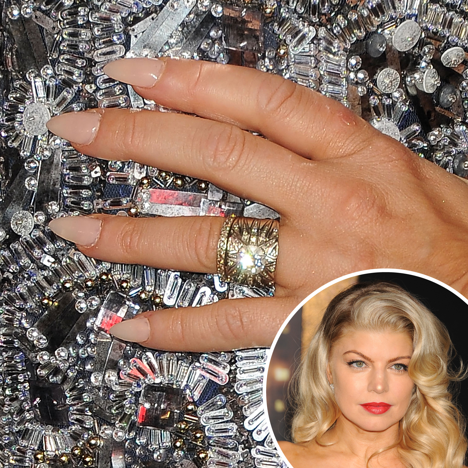 It was another neutral color for Fergie at the 2011 New Year's Eve premiere, but it was the best pick to go with her heavily embellished dress.