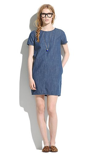 Madewell's denim shift dress ($110) is a simple canvas just dying to be added to. We're thinking a printed scarf, playful printed loafers, and loads of jewels.