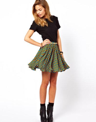 Glamorous Skater Skirt in Tessell Print