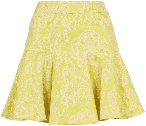 Co-ord Lime Jacquard Skirt