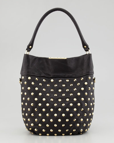 Be & D Cailey Studded Fold-Over Hobo, Black