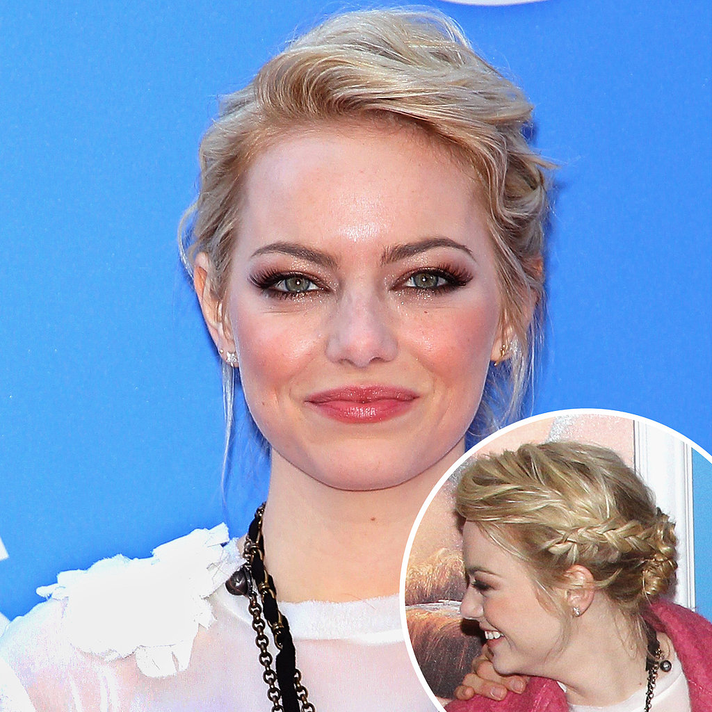 Dress up a low bun with a braid like Emma Stone did here. You don't have to know how to French braid to master this look. Just braid a side section before you pull it back into a bun.