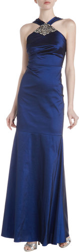 David Meister Taffeta Jewel-Neck Halter Gown