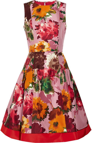 Oscar de la Renta for THE OUTNET Floral-print silk-twill dress