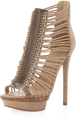 B Brian Atwood Frontera Suede-Snake-Print Platform Sandal