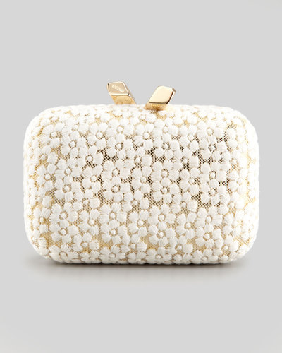Kotur Margo Embroidered-Floral Lace Minaudiere, white