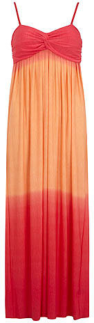 Coral colour block knot maxi