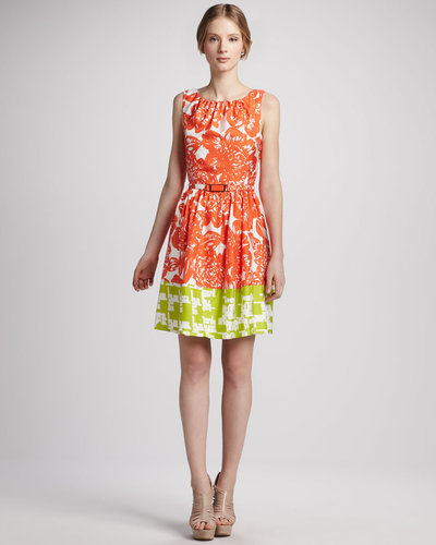 Trina Turk Belted Floral-Print Colorblock Dress