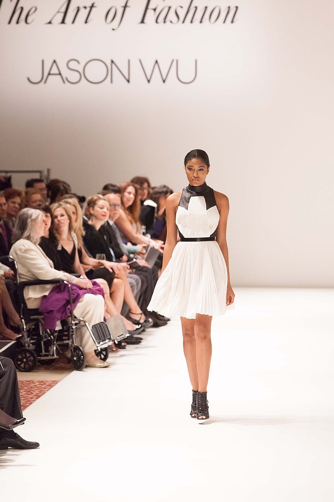 This frothy white-and-black cocktail dress was a hit with the audience.