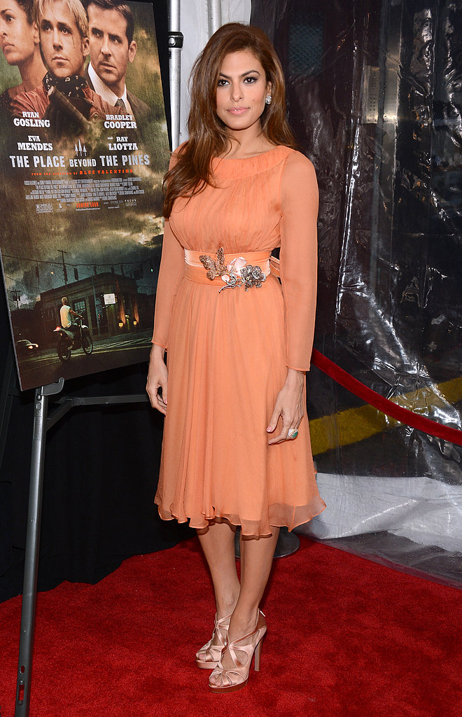 Eva Mendes brought her glamazon effect to the NYC premiere of The Place Beyond the Pines in a peachy-hued Prada.