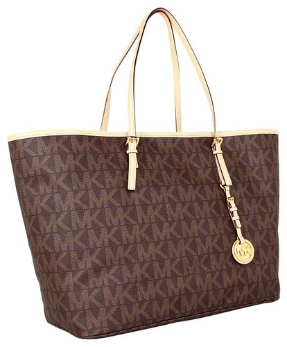 MICHAEL Michael Kors - Jet Set Travel Logo Medium Tote (Brown) - Bags and Luggage