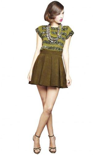 Milo Leather Box Pleat Mini Skirt