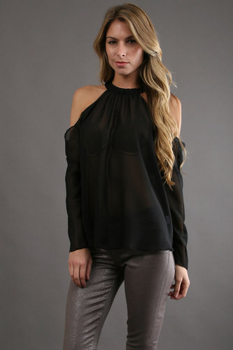 Boulee Mari Top in Black Chiffon