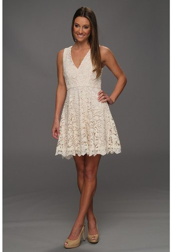 French Connection - Loving Crochet Dress (Daisy White Lace/Powder) - Apparel