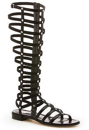 Stuart Weitzman - Gladiator - Tall Gladiator Sandal in Black Leather