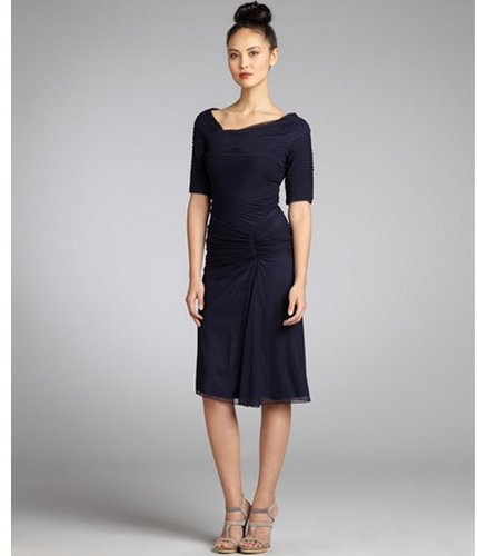 Tadashi Shoji navy stretch mesh woven ruched short sleeve party dress