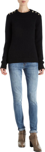 Barneys New York Button Shoulder Sweater
