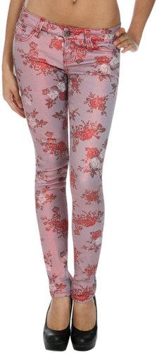 Metallic Floral Skinny Jean