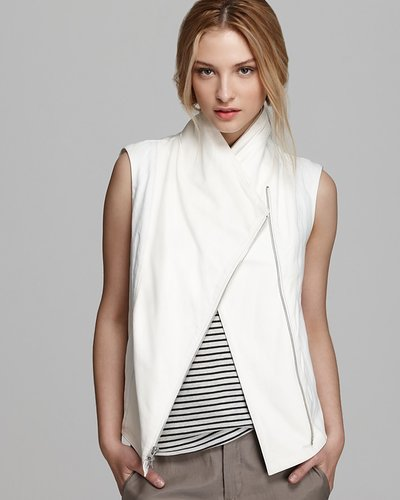 Vince Vest - Rustic Leather Trim Asymmetric