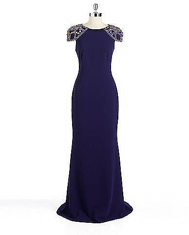 BADGLEY MISCHKA PLATINUM Embellished Cap-Sleeved Gown