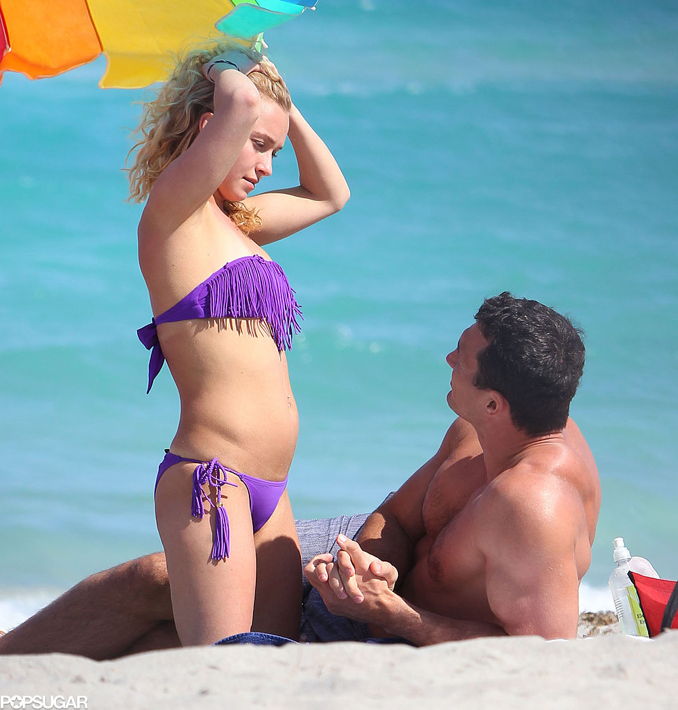 Hayden Panettiere wore a bikini on the sand with Wladimir Klitschko.