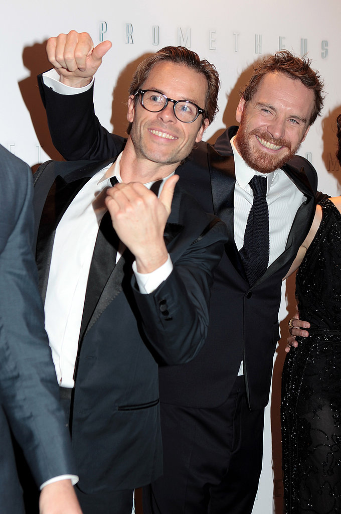 Guy Pearce and Michael Fassbender joked around at the premiere of Prometheus in London in May 2012.