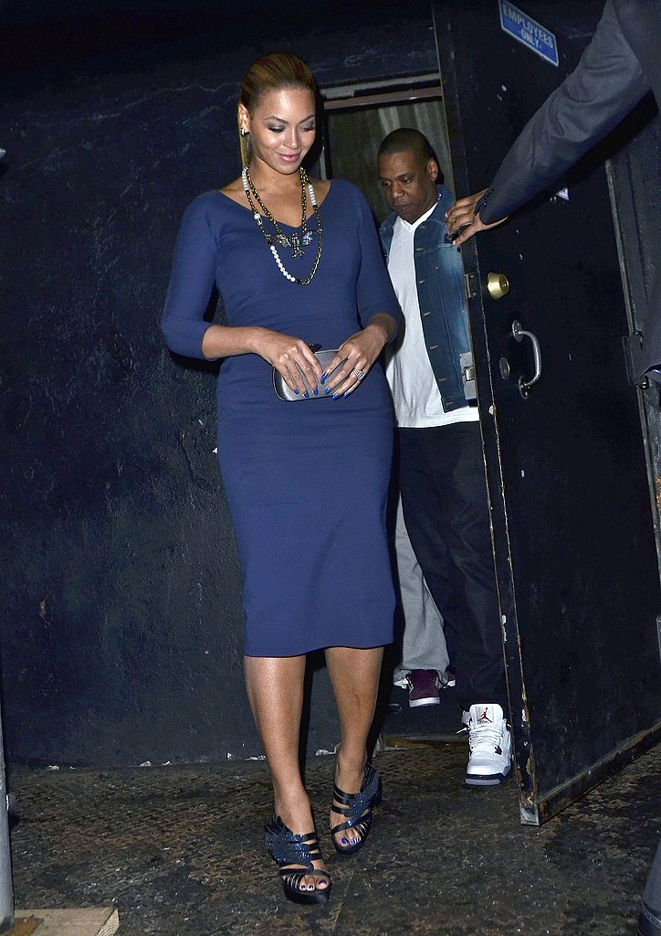 While out in NYC in March 2012, Beyoncé looked classic in a navy Victoria Beckham sheath and Lanvin jewels, while Jay-Z kept it laid-back in a denim jacket and white sneakers.