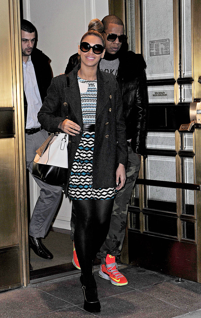 Beyoncé proved to be a print master in a Milly dress, while Jay-Z stood out in camouflage pants and fluorescent Nike sneakers in December 2012.