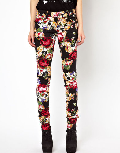 Tripp NYC Rose Embroidery Printed Skinny Jeans