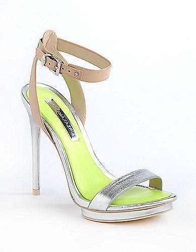 BCBGMAXAZRIA Finite Metallic Ankle Strap Sandals