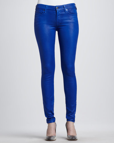 7 For All Mankind Skinny High-Shine Gummy Jeans, Cobalt