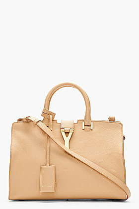 SAINT LAURENT Beige leather and gold logo Macho tote