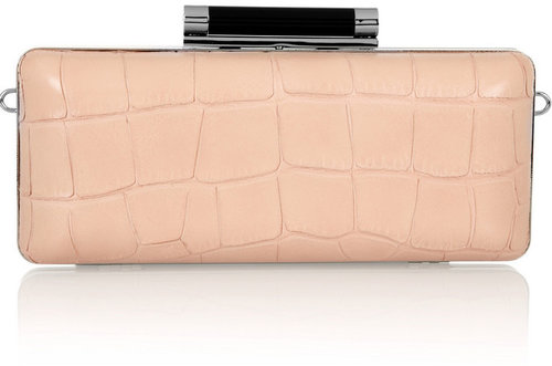 Diane von Furstenberg Tonda croc and lizard-effect leather clutch