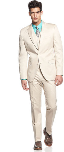 Tallia Suit, Tan Cotton Vested
