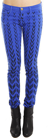 Current/Elliott Ankle Skinny Jean in Cobalt Chevron