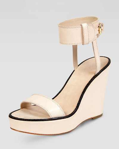 Elizabeth and James Brit Ankle Cuff Wedge Sandal, Natural