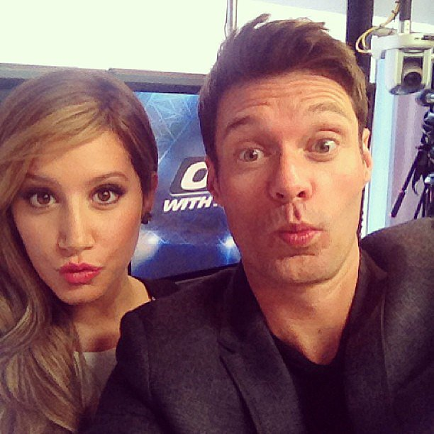 "Ashley Tisdale stopped by Ryan Seacrest's radio show and taught him the secrets of ""duck face."" Source: Instagram user ryanseacrest"
