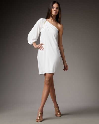 David Meister One-Shoulder Jersey Cocktail Dress