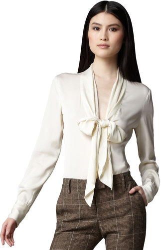Rachel Zoe Tie-Neck Plunge Blouse, Cream