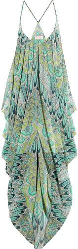 Mara Hoffman Feather-print georgette beach dress
