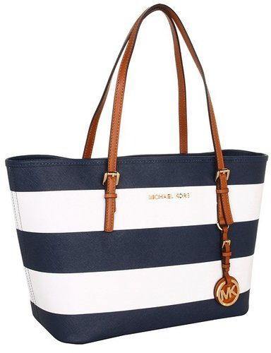 MICHAEL Michael Kors - Jet Set Small Travel Tote - Striped Saffiano (Navy/White) - Bags and Luggage