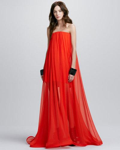 Alexis Miranda Strapless Sheer-Skirt Maxi Dress