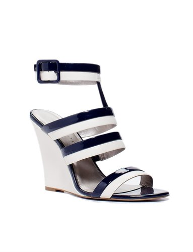 Strappy Two-Tone Wedge Sandals
