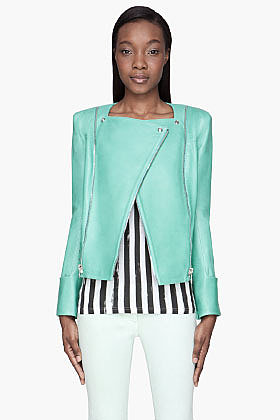 BALMAIN Mint green Leather zipped biker Jacket
