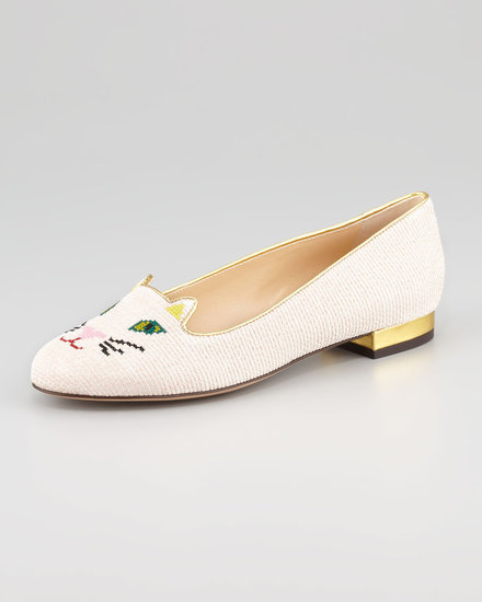 Charlotte Olympia Kitty Embroidered Cotton Slipper, Rose