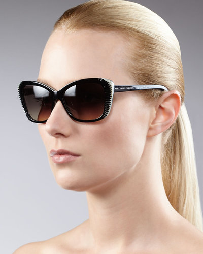 Alexander McQueen Squared Cat-Eye Sunglasses, Black
