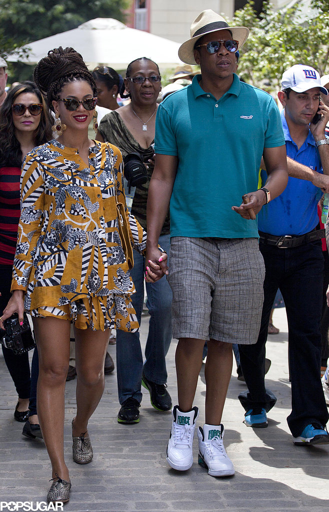Beyoncé Knowles and Jay-Z held hands as they walked through Old Havana, Cuba.