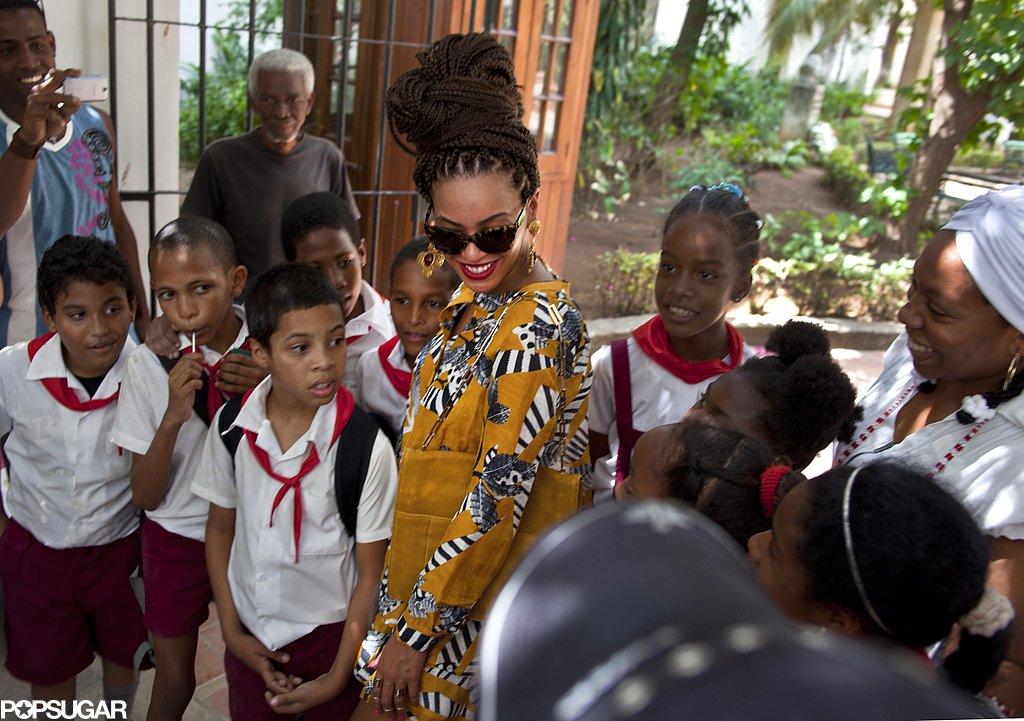 Beyoncé Knowles met with locals during her tour through Old Havana.