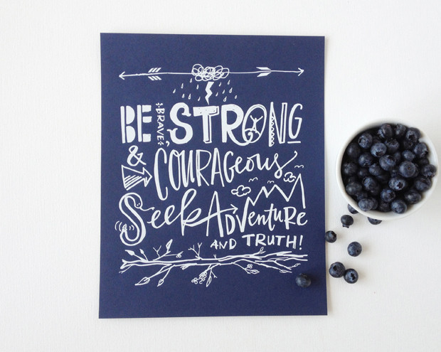 We love the message on this Be Brave canvas ($75-$200), available in three sizes and four color combos.