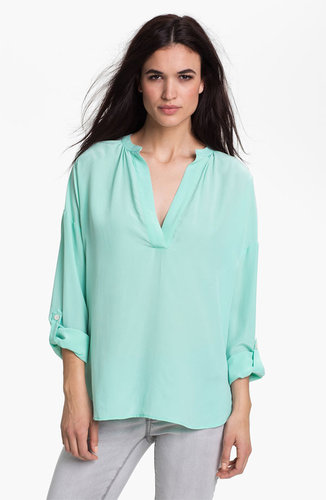 Two by Vince Camuto Split Neck Silk Tunic Blouse